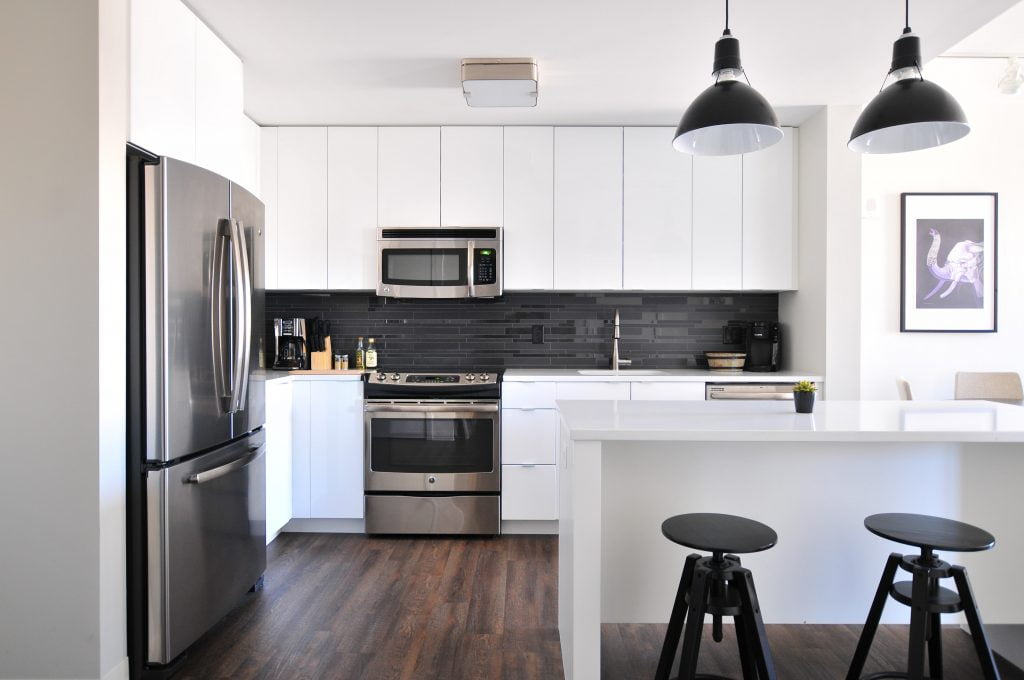 Modern kitchen representing foreclosure of a home.